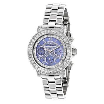 Diamond Watches For Women: LUXURMAN 3ct Ladies Blue MOP Montana Watch