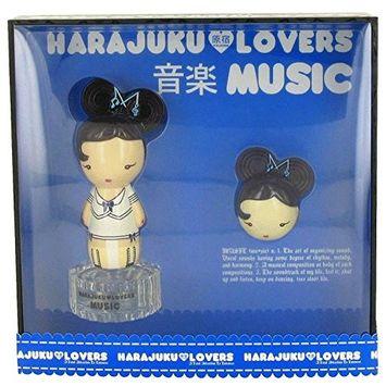 Harajuku Lovers Music by Gwen Stefani Gift Set -- 1 oz Eau De Toilette Spray + Solid Perfume for Women - 100% Authentic