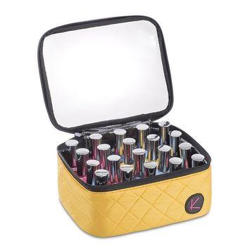 KIOTA 20 Slot Nail Polish Storage Bag Case Organizer, Secure Clear Zippered Top, Canary