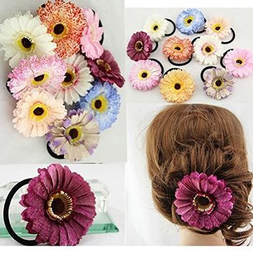 Cuhair 10pcs Fashion Beach Flower Women Girl Top Elastic Ponytail Holders Hair tie bands Rope rubber accessories