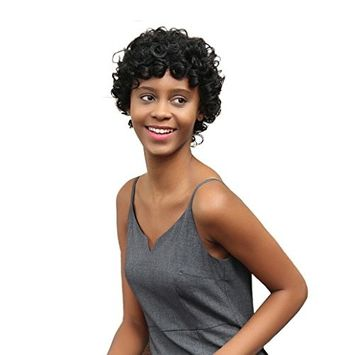 OVERMAL Women Short Black Brown FrontCurly Hairstyle Synthetic Hair Wigs