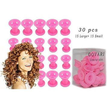 30PCs Silicone Rollers Hair Curlers DIY Hair Style - No-Heat Styling 15pcs x Big, 15pcs x Small Hair Care Curling Rollers - Easy-to-Use Hair Tools & Accessories By GOVARI