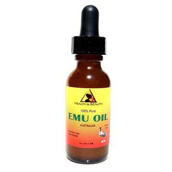 Emu Oil Australian Organic Triple Refined Premium Quality Natural 100% Pure 1 oz with Glass Dropper