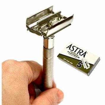 CS-302 Classic Samurai Butterfly Twist to Open Double Edge Safety Razor With 5 Astra Superior Platinum Double Edge Safety Razor Blades
