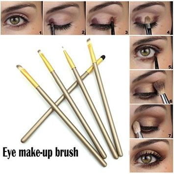 5PCS Powder Make up Brushes,CYCTECH Professional Eyeshadow Foundation Blush Brush Sets Blending Essential Travel Kit Beauty Blender Tools