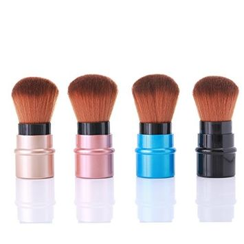 BONNIESTORE 4 Pcs Retractable Makeup Kabuki Blush Brush, Portable Adjustable Handle Powder Foundation Brush Cosmetic Makeup Brush With Soft Synthetic Bristles