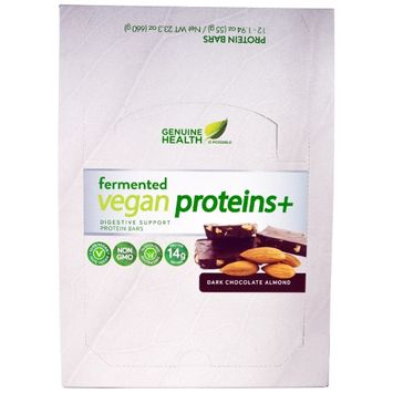 Genuine Health Corporation, Fermented Vegan Proteins +, Dark Chocolate Almond, 12 Protein Bars, 1.94 oz (55 g) Each