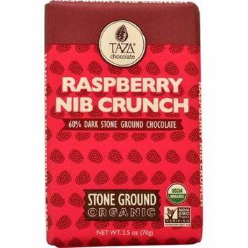 Taza Chocolate Dark Chocolate Bar Stone Ground Raspberry Nib Crunch -- 2.5 oz pack of 2