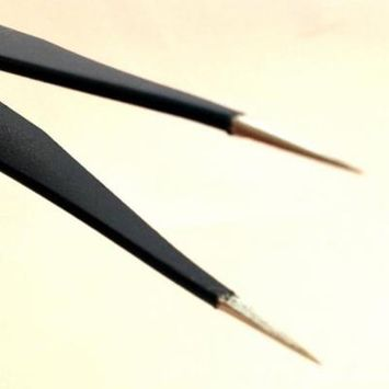 2 Non-magnetic Antistatic Curved Straight Tips Tweezer