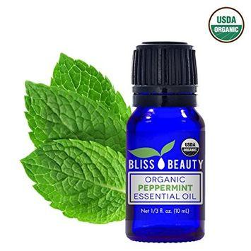 Peppermint Essential Oil, USDA Organic - 100% Pure, Natural Oils, Premium, Therapeutic Grade, Undiluted - Mentha Peperita - Bliss Beauty (10 ml)