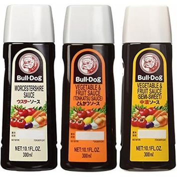 Bull-Dog Sauce Assort 3 kinds (Tonkatsu, Worcestershire, Chuno) 10.1 Fl. Oz. x 3