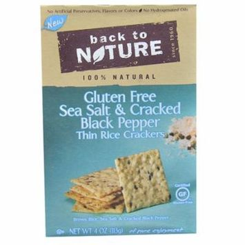 Back To Nature Thin Rice Crackers Sea Salt & Cracked Black Pepper -- 4 oz pack of 4