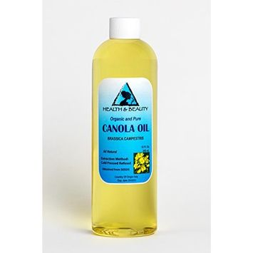 Canola Seed Oil Refined Organic Carrier Cold Pressed Natural Fresh 100% Pure 12 oz