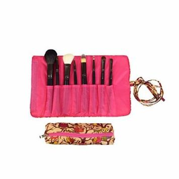 2 Pcs Set Brush Rolling Organizer Cosmetic Bag Brown Pink Owl With Pink Trim, CASE OF 12