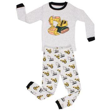 Elowel Pajamas Elowel Little Boys Grey Yellow Bulldozer Print Cotton 2 Pc Pajama Set 3