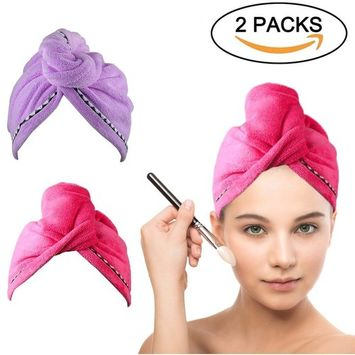 Microfiber Hair Drying Towel Turban - COSCOD 2 Pack Quick Dry Ultra Absorbent Microfiber Hair Towel Wrap Shower Head Towel for Long Hair Women with Buttons