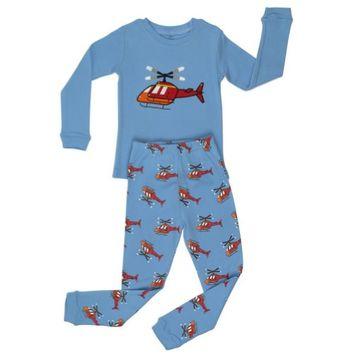 Elowel Pajamas Elowel Little Boys Blue Helicopter Long Sleeve Cotton 2 Pc Pajama Set 2