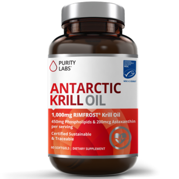 PurityLabs Antarctic Krill Oil Capsules with Astaxanthin - 2000mg per serving with Phospholipids and Omega 3 for Heart Brain and Joint Support