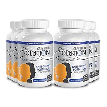 Organic horsetail extract - GRAY HAIR SOLUTION FOR MEN AND WOMEN - Gray hair eliminator (6 Bottles 360 Capsules)