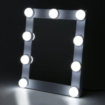 Vanity Tabletops Lighted Makeup Mirror With 9 LED Bulb Lights Dimmer Beauty Mirror Portable Touch Screen Mirror US Plug