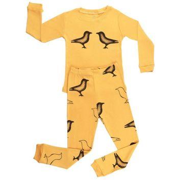 Elowel Pajamas Elowel Little Girls Yellow Bird Print Long Sleeve Cotton 2 Pc Pajama Set 4
