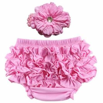 Coxeer Baby Girl Cute Ruffle Bloomers Diaper Covers with Flower Headband (Pink, S)