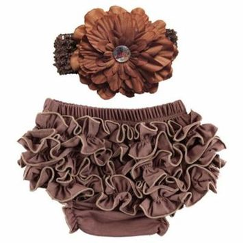 Coxeer Baby Girl Cute Ruffle Bloomers Diaper Covers with Flower Headband (Brown, M)