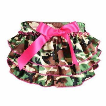 Newborn Baby Bloomer Cute Floral Diaper Cover Tutu Panties for Baby Girls (Camo, L)