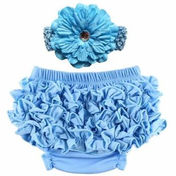 Baby Girl Cute Ruffle Bloomers Diaper Covers with Flower Headband (Light Blue, S)