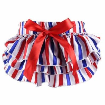 Newborn Baby Bloomer Cute Floral Diaper Cover Tutu Panties for Baby Girls (Red, S)