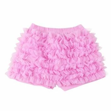 Cute Baby Ruffle Bloomers Diaper Cover Panties for Baby Girls (Pink, L)