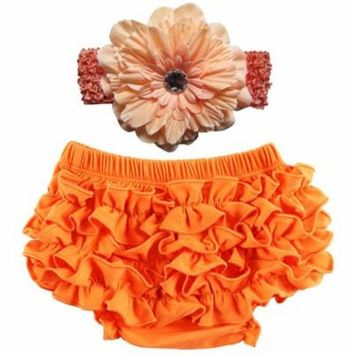Baby Girl Cute Ruffle Bloomers Diaper Covers with Flower Headband (Orange, S)