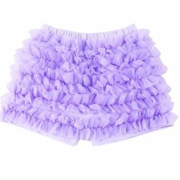 Cute Baby Ruffle Bloomers Diaper Cover Panties for Baby Girls (Violet, M)