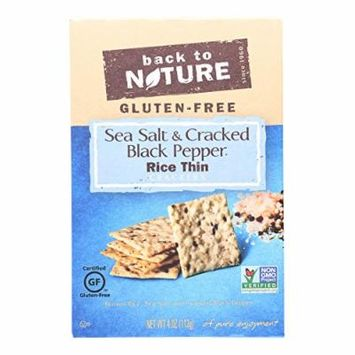 Back To Nature Crackers - Sea Salt and Cracked Black Pepper Rice - Case of 12 - 4 oz.