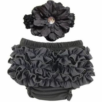 Baby Girl Cute Ruffle Bloomers Diaper Covers with Flower Headband (Black, M)