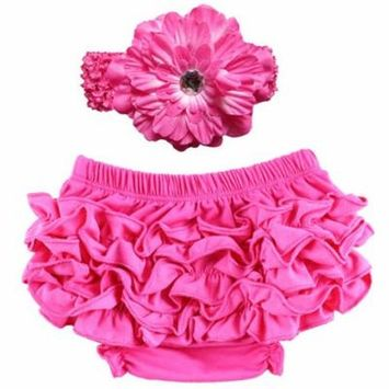 Baby Girl Cute Ruffle Bloomers Diaper Covers with Flower Headband (Rosy, S)