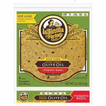 La Tortilla Factory Extra Virgin Olive Oil SoftWraps, Tomato Basil, 6 Ea (Pack of 14)
