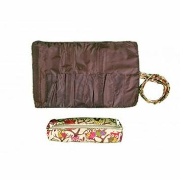 2 Pcs Set Brush Rolling Organizer Cosmetic Bag Brown Pink Owl With Brown Trim, CASE OF 12