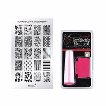 Konad Square Stamping Nail Art Image Plate w/ Double Side Stamp Set (M01)
