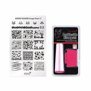 Konad Square Stamping Nail Art Image Plate w/ Double Side Stamp Set (M17)
