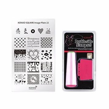 Konad Square Stamping Nail Art Image Plate w/ Double Side Stamp Set (M22)