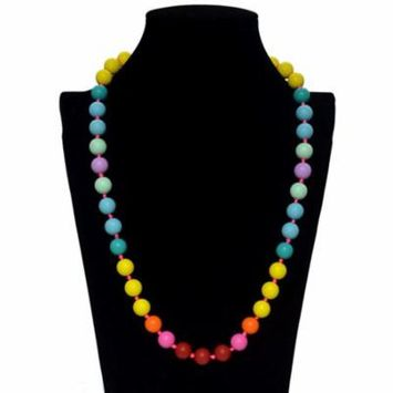ZUMIT Rainbow Silicone Teething Nursing Necklace Chewbeads Baby Teether Pendant Toys for Mom to Wear
