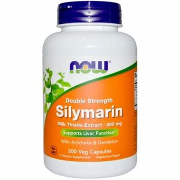 Now Foods, Silymarin, Milk Thistle Extract with Artichoke & Dandelion, Double Strength, 300 mg, 200 Veg Capsules(pack of 4)