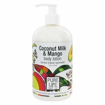 Body Lotion Coconut Milk & Mango - 15 fl. oz. by Pure Life Soap Co. (pack of 6)