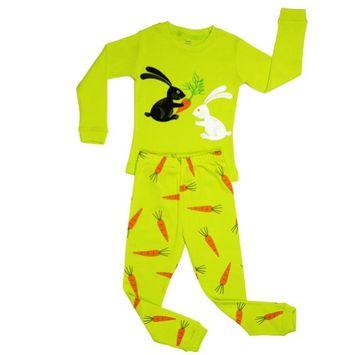 Elowel Pajamas Elowel Little Girls Yellow Bunny Rabbit Print Cotton 2 Pc Pajama Set 3