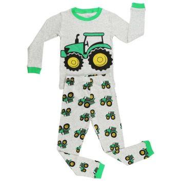Elowel Pajamas Elowel Little Boys Grey Tractor Print Long Sleeve Cotton 2 Pc Pajama Set 4