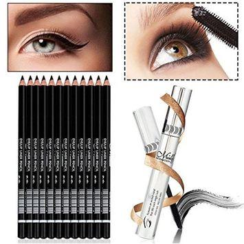 Creazy Menow Waterproof False Eyelashes Makeup Mascara+12 Pcs Black Eyeliner Pencil Set