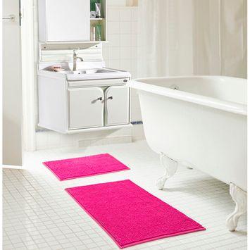 Kara Short Pile Chenille 2-Piece Bath Mat Set in Fuschia
