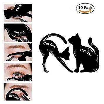 St.Mandyu 2 in 1 Cat Eyeliner Stencil, Professional Multifunction Black Cat Shape Eye Liner & Eye Shadow Guide Template Tool (10 pcs)