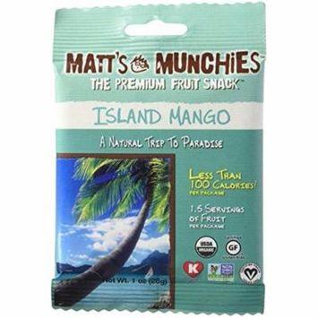 matt's munchies organic fruit snack (1-ounce bag), island mango, 12 pack